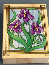 Stained Glass Irises~All Night Media Rubber Stamp~#223J Made In U.S.A ~ Retired