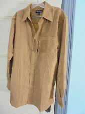 Oleg Cassini dress shirt M brown gold 75% Silk Sze M New With Tags $90 Save 60%