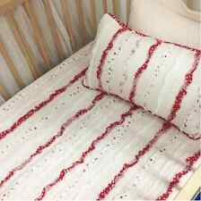 Baby Girls Bedding Pink Red White Nursery Cot Blanket Crib Quilt & Cushion Set