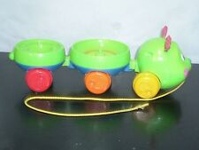 2005 Fisher-Price Roll-ARounds Balls Pull and Spin Caterpillar Mattel USED