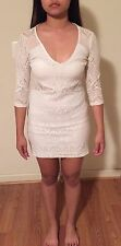 H&M Womens Fashion White Lace Cut Out Bodycon Party Mini Short Dress Sz Small