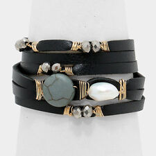 Celeb Statement Black Gold leather Howlite Pearl Wrap Bracelet By Rocks Boutique