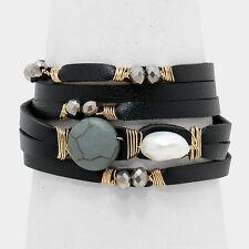 Declaración de oro negro de cuero Howlite Celebridad Envoltura Pulsera de perlas por rocas Boutique