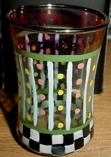 eArLy ORIGINAL MacKenzie Childs Hand Painted CHILDREN'S GLASS w/ Courtly Checks