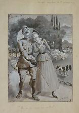 Eugène CADEL (1867-1940) Dessin original lavis Militaire 1915 WW1 illustration