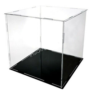 Acrylic Display Case Show Storage Collectibles Model Black Leather Base 10-25cm