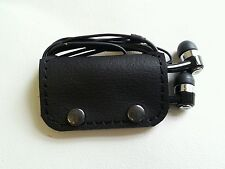 Earbud/ear phone Black real leather case with studs