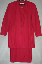 VINTAGE 80s Red Skirt Suit Size14-16 with Longline Jacket Classic 2 Piece Outfit