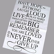 European style Quote Words Have Hope Be Strong Wall Decals Stickers Home Decor