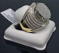 Sz6 7 8 9 10 11 Luxurious Men White Topaz 10K Gold Filled Wedding Band Ring Gift