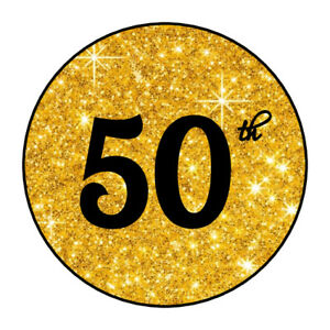 """30 personalizable Gold 50th Anniversary, Birthday stickers envelope seals 1.5"""""""