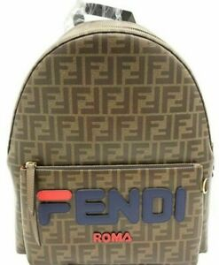NEW FENDI Mania Backpack FF Logo Brown Blue Red