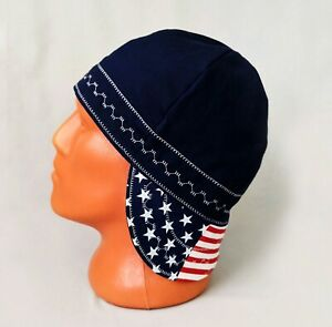 #4-N Patriotic Reversible Welding Welders Bikers Caps Weld Cap Hat Cotton USA