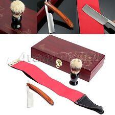High Hot Shave Kit Knife Straight Razor Shaving Brush and leather Strop Gift #14