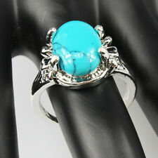 Turquoise Gemstone Fashion  Jewelry 925 Silver Men Women Ring Size 9
