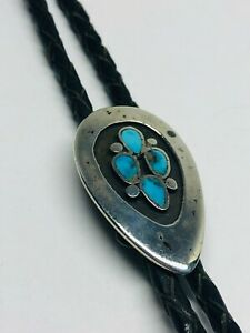 VTG Native American BENNETT Pat Pend STERLING Silver Inlaid Bolo Tie 38''