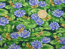 Quilting Fabric Waterlillies and Dragonflies by VIP 100% Cotton Fat Quarter