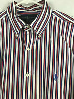 Polo Ralph Lauren Mens Large Button Shirt Striped Red White Blue Classic Fit C17