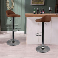 Set of 2 Bar Stools PU Leather Cafe Counter Height Hydraulic Swivel Adjustable