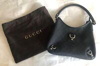 Gucci Womens Black GG Hobo D-Ring Canvas / Leather Monogram Handbag 268637