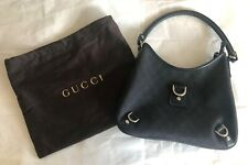 Gucci Womens Black GG Hobo D-Ring Canvas / Leather Monogram Handbag 268637