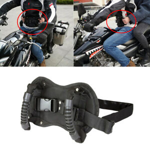 1x Motorcycle Passenger Safety Belt Rear Seat Grab Handle Driver Belly Strap Pad
