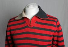 Tommy Hilfiger 1/4 Zip Neck Jumper, Retro-Striped Red and Black Men's Size L!!