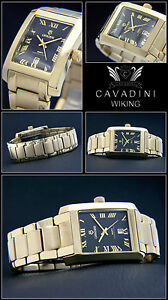Cavadini Watch Solid Stainless Steel Ip-Goldplated Rectangular Date 1 5/16in