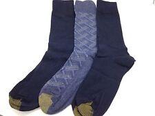 $36 GOLD TOE Men's 3 PACK Crew DRESS SOCKS Blue Solid Plaid Casual SHOE 6-12