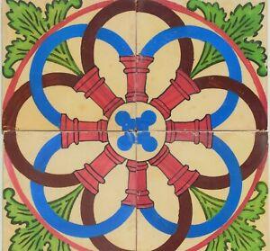 4 tiles made in the AA Costa das Devesas factory in Porto circa 1880