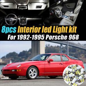8Pc Super White Car Interior LED Light Bulb Kit for 1992-1995 Porsche 968