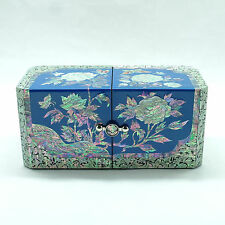 Luxurious sky blue jewelry box inlaid with mother of pearl handicraft 4 drawers