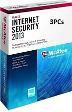McAfee Internet Security 3 PCs 2013 - NEW - FREE SHIPPING ™