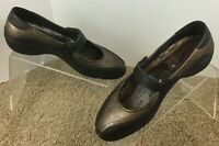 MARY JANE ECCO COMFORT SHOES SZ 41 10-10.5 US GOLD METALLIC FLATS WOMEN S BROWN
