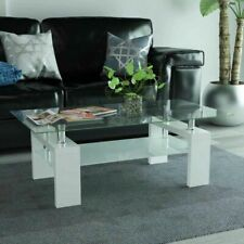 vidaXL High-Gloss Coffee Accent Table with Lower Shelf Indoor Furniture White