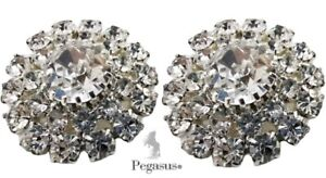 *NEW* High Quality, Large Cz Crystal Non Dangle Clip On  Pair Earrings