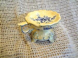 Ceramic Tealight / Votive Yellow Blue Candle Holder or Decorative Soap Dish