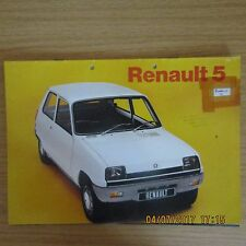 RENAULT 5 L (R1221) & TL (R1222) 3 Door Hatchback UK Market Sales Brochure 1972