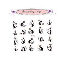 stickers ongles - chat noir et argent - jh032