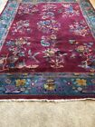 """Extravagant Burgundy Color Chinese Deco Rug 1930s 11'5"""" x 8'8"""""""