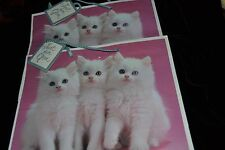 Vtg Lot 2 WHITE KITTENS CAT BLUE EYES Amer. Greetings Paper Gift Shopping Bags