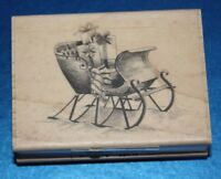 NEW Inkadinkado 'Sleigh' Christmas Wooden Backed Rubber Stamp 99416DD 🎄