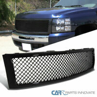 For Chevy 07-13 Silverado 1500 Pickup Black Mesh Front Bumper Hood Grille Grill