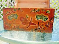 Folk Art Primitive Painted Trunk Sea Creatures White Eastern Pine Wood Vintage