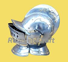 Burgonet helmet medieval armour helmet with brass accents and bidding