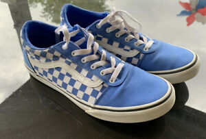 Vans Off The Wall Checkered Mens Size 7 = 8.5 Womens Blue White Shoes Skate