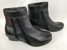 WOMENS MODA BY PROPET ANKLE COMFORT BLACK LEATHER SIDE ZIP WORK SHOES SZ 10X[2E]