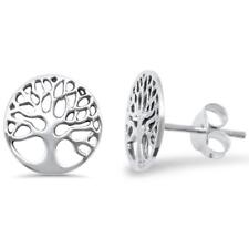 Cute Round Tree of Life Studs .925 Sterling Silver Earrings