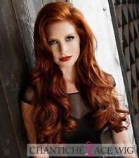 """Cosplay Copper Red Wig Long Wavy Synthetic Lace Front Wigs For White Women 24"""""""