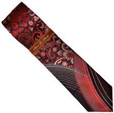 Steven Land W666 Red / Black / Charcoal Grey Artistic Necktie / Handkerchief